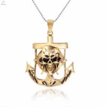 Rectangle charmes gothique plaqué or pendentif en acier inoxydable bijoux