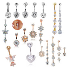 2021 Hot Selling Stainless Steel Multi Color Belly Navel Ring Body Piercing Jewelry