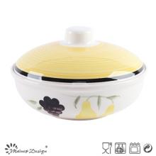 1000cc Ceramic Handpainted Soup Pot with Lid