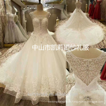 2017 Luxus ZhongShan schwere Perlen tiefe Schatz Hals Ballkleid Brautkleid