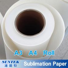 Papel de transferência de sublimação do rolo 100GSM A3 A4 para impressão de t-shirt