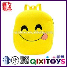 Buena calidad mochila de felpa diseño lindo mochila emoji producción profesional hechos a mano niños emoji mochila