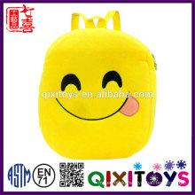 Good quality plush backpack cute design emoji backpack professional production handmade kids emoji backpack