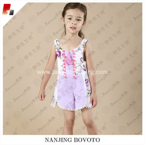 JannyBB design flower printed baby bubble romper