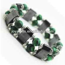 Bracelet spatial à l'hématite magnétique avec des perles rondes en alliage et 8 m de malachite