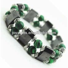 Magnetic Hematite Space Bracelet with alloy and 8MM Malachite Round Beads