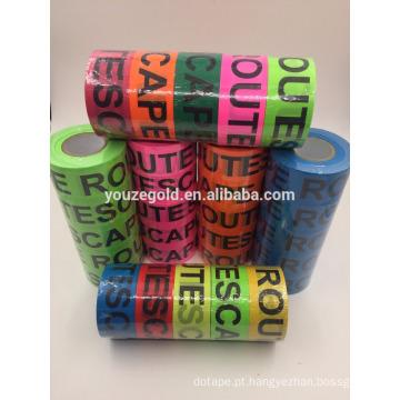Fita de marcação fluorescente de PVC com as palavras #ESCAPE ROUTE #