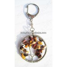 Red Stone chaveiro de pedra preciosa forma redonda, keyrings pingente de pedra preciosa, chave-chave de pedra chave-afortunada