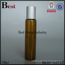 beautifol 10ml flat amber essential oil glass roll on bottle matte silver cap