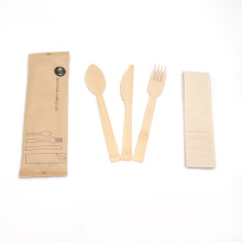 Factory Wooden Cutlery Set Disposable Bamboo Spoon Fork Knife With Custom Logo