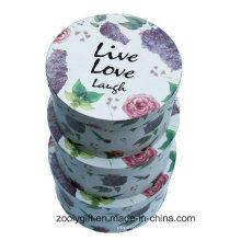 Bela flor impressão rodada caixa de papel rígido aninhamento redondo caixas de presente de chapéu com tampa
