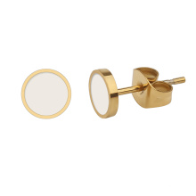 Korean Simple Colorful Stainless Steel Gold Plated Small Plain Round Disc Post Earring Studs
