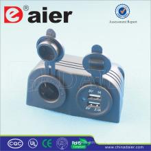 Daier Car USB Montaje empotrado Socket Tienda de dos orificios Car Power Socket Mini USB Splitter