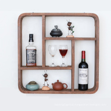Stackable Rustic wooden storage floating wall shelf for home