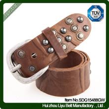 Cintura de couro Lady Female Vintage Rivets Vestido Strap Cintos de couro Skinny Moda Mulheres Italian Cowhide