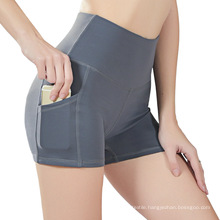 High Waist Yoga Shorts with Side Pocket