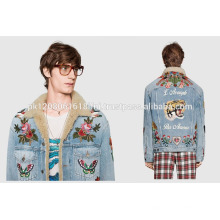 2017 embroidered custom made Jeans jacket fashion wear for men and women wholesale