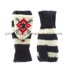 Knitted Acrylic Warm Jacquard Gloves/Mittens with Pocket