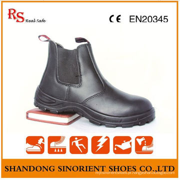 Black Action Leather Sem botas de trabalho do laço Chelsea RS102