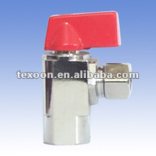 copper angle ball valve red handle chromium plated copper
