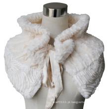 Senhora moda poliéster veludo falso cachecol de pele xale (yky4404)