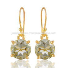 Natural Green Amethyst Gemstone with 925 Sterling silver & 18K Gold Vermeil Jewelry