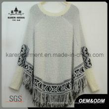 Fringed Aztec Knit flauschige Poncho neuesten Frauen Pullover Design