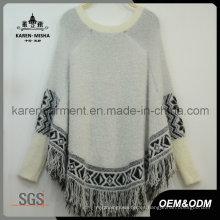 Poncho con flecos de punto azteca con flecos Último diseño de suéter de mujer