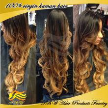 100% mão-amarrado full lace ombre cor para a mulher negra remy brasileira peruca de cabelo humano virgem