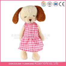 Wholesale Best Made Stuffed 35cm Plush Big Head Dog Doll with Dress