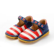 Neue Baby-rote weiße Streifen-Marine-Ferse-quietschende Schuhe
