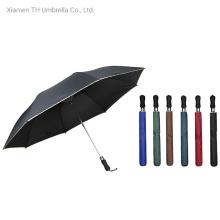 2 Folding Golf Umbrella with EVA Handle/Compact Pongee Fabric Umbrella with Lace Edge Printed