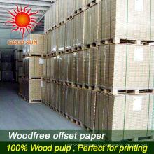 Papel de impresión en offset libre de madera revestido de la pulpa de madera del 100% en carrete