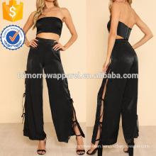 Solid Crop Bandeau Top & Tied Side Pants Set Manufacture Wholesale Fashion Women Apparel (TA4090SS)