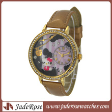 Leather Strap 3D Dial Cheap Gift Watch for Ladies