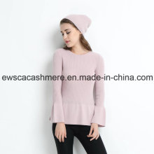 Rosa Farbe Lady Rundhals Cashmere Pullover mit Falbala
