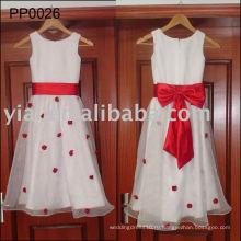 PP0026 реальный образец горячая Продажа девушки цветка платья белый и красный детские свадебные платья для детей