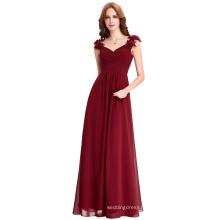 Starzz Wine Red Long Chiffon Prom Dresses Cheap Floor Length Wedding Bridesmaid Gown Formal Burgundy Dress ST000079-1