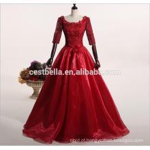 Vestido de vestido de bola de baile de formatura vermelho com contas elegantes Vestido de vestidos de noiva Vestido de noiva