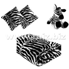 Baby Blanket with Zebra Toy and Cushion