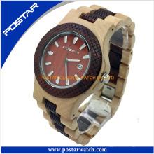 Reloj de cuarzo de moda redondo reloj de madera digital para hombres