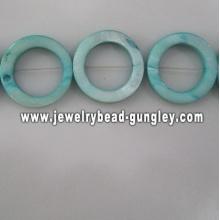 blue donut shape fresh water shell beads