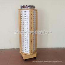 Rotating 4-Way Floor Standing Display Rack Optical, Wood Spectacles Display Rack With Wheels