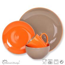 Bicolor Ceramic Stoneware Orange Clolor Dinner Set
