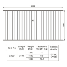1,2 / 1,5 / 1,8m HX 2.4 M. W Aluminium Schwarzer Zaunabschnitt