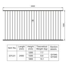 1.2/1.5/1.8m. H X 2.4 M. W Aluminum Black Fence Section
