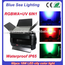 Professional 60pcs 18w 6 in 1 rgbwauv dmx outdoor ip65 led wall washer