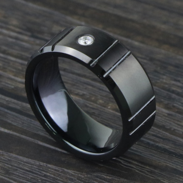 Black Wolfram Carbide Engagement Ring With Diamond