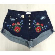 2016 Mulheres Bordado Moda Denim Short Jeans