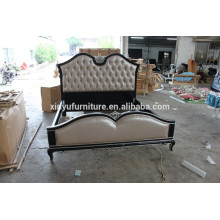 Neo classical wood carving leather bed XYN856